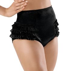High-Waisted Satin Ruffle Brief Shorts; Balera (Moulin Rouge Costume)