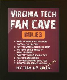 Virginia Tech Sports Man Cave.... Need this for our Tech Room!!!  Father's Day???