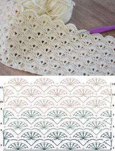 Hexagon Crochet Pattern, Crochet Diagram, Crochet Chart, F Hexagon Crochet Pattern, Crochet Diagram, Crochet Chart, Crochet Motif, Free Crochet, Crochet Hood, Crochet Shell Stitch, Crochet Afghans, Baby Afghan Crochet Patterns