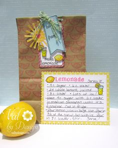 Copic summertime lemonade hostess gift using a variety of Lawn Fawn stamp sets and die sets. Made by Valerie
