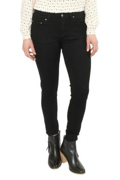 Dark black denim skinny jeans. Classic five pocket styling. Spandex for extra stretch. High wasted. Slim throughout. Inseam 31in. Black Skinny Jeans by Principle Denim. Clothing - Bottoms Oregon