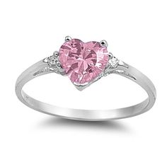 Everything925 .925 Sterling Silver Ring, Heart Shape Pink CZ, Band Width 2mm -