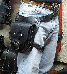 Custom Leather Holsters, Leather Utility Belt, Leather Pouch, Thigh Bag, Biker, Waist Pouch, Thighs, Leather Products, Bags
