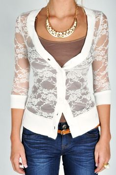 Lace Cardigan - White. Cute.Love
