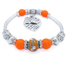 Nieuwste Verzilverd Oranje Glas Charm Armbanden & Bangles Nepal Kralen…