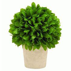 Benzara Green Potted Leaf Ball (Vibrant Green Colored Vinyl Leaf Bal) #50854