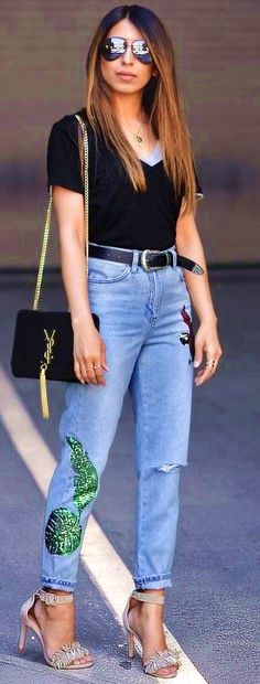 #summer #popular #outfitideas Black  Embroidered Denim  - more on http://ift.tt/2rynWxj