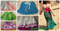 A Collection of Crochet Girl's Skirt Free Patterns: Crochet Girl Summer Skirt, Shell Skirt, Ruffle Skirt, Layered Skirt, Diaper Skirt Patterns Free