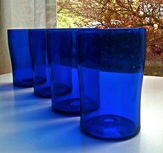 Cobalt Blue Glassware / Vintage Glass Tumblers by VintageTimelines, $15.00
