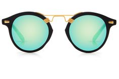 St. Louis Matte Black boasts a 24K bridge, rounded seafoam green mirrored lenses and a retro-inspired silhouette making it a celebrity favorite.  Gigi, Kendall, Adriana Lima, Selena Gomez and Dakota Fanning all own a pair. These best-selling sunglasses are crafted from acetate and derive inspiration from the French Quarter's iconic cast-iron balconies.