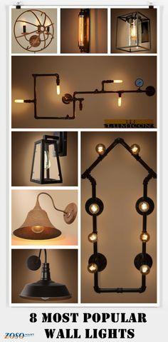 8 most popular wall lights-Home lighting-vintage lighting-industrial lighting http://www.zosomart.com/home-living/lamps-lighting.html
