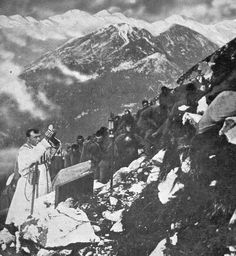 Italian troops listening to mass in the Tyrolean Alps WW1