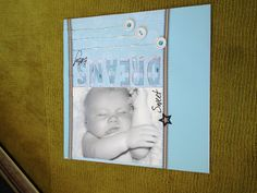 Baby sleeping scrapbook page letters, ribbon button. Simple