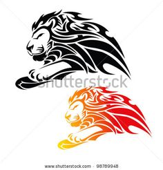 tribal lion in jump tattoo - vector illustration by Petrovic Igor, via ShutterStock