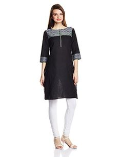 Aurelia Women's Straight Kurta (16FEK12222-78278_Black_Medium)