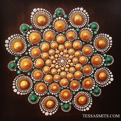 Mandala Dot-Art painting Golden Heart by Tessa Smits