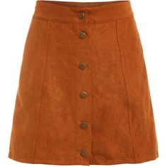Faux Suede Buttoned Front Skirt - Khaki (895 RUB) ❤ liked on Polyvore featuring skirts, khaki, brown skirt, brown a line skirt, knee length a line skirt, short khaki skirt and button front skirt