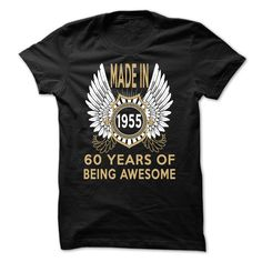 Made in 1955, 60 years of being awesome T Shirts, Hoodies. Check price ==► https://www.sunfrog.com/Birth-Years/Made-in-1955-60-years-of-being-awesome-Black-50205516-Guys.html?41382 $22.99
