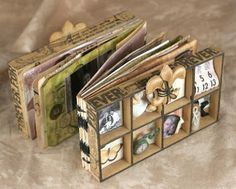 Wood Collage Box Mini Album - manila tags for inside: photos, no tutorial, of several albums made like this