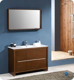 "Fresca Allier 48"" Wenge Brown Modern Bathroom Vanity w/ Mirror"