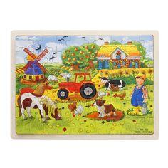 UTOYSLAND 60-Piece/zestaw Miller's Gospodarstwa Drewniane Puzzle Dla Dzieci Dla Dzieci Zabawki Edukacyjne Dla Dzieci