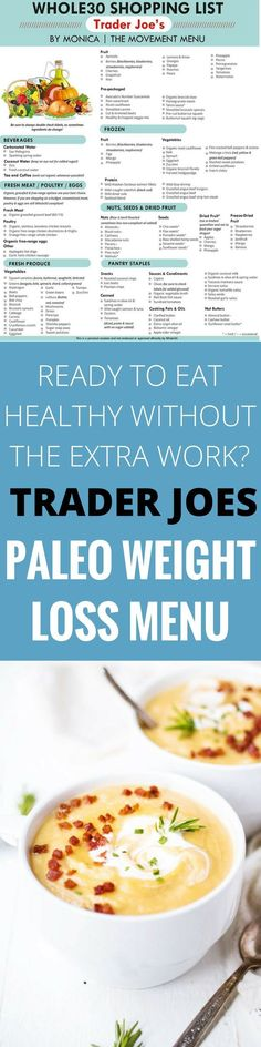 Paleo - A Trader Joes Grocery Guide! grocery shopping doesnt need to be difficult. Here is an extensive list just for you! - It's The Best Selling Book For Getting Started With Paleo Paleo Diet Menu, 30 Diet, Diet Meals, Lean Meals, Paleo Meals, Paleo Food, Paleo Dinner, What Is Paleo Diet, Paleo Vegan