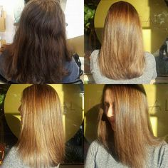 Fabulous #beforeandafter - from a dark brunette to a soft caramel toffee Bronde. This was done by a full head of foils using @wellapro_anz blondor + Olaplex. 😀