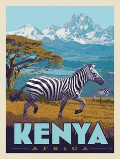 Kenya Africa, East Africa, Vintage Safari, Dorm Art, Pictorial Maps, Travel Wall Art, Vintage Travel Posters, Illustration, Poster Prints