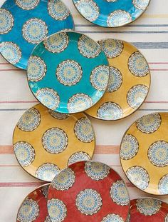 Patterned plates like these Elsa Medallion on are so much brighter for summer soirées.