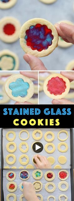How To Make Stained Glass Cookies – candies melt in the middle of cookies, making beautiful stained glass look! Learn how to make them in this video tutorial. Make your own color and shape combinations! Perfect for holidays, birthdays and gifts. video recipe. | Tipbuzz.com