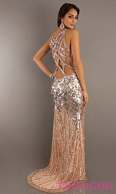 Long V-Neck Sequin Formal Dress by Primavera at PromGirl.com