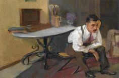 The Artist in his Studio : Nikolaos Lytras : Expressionism : self portrait - Oil Painting Reproductions Fine Art Amerika, Greek Paintings, Video Artist, Greek Art, Art Database, Oil Painting Reproductions, Framed Prints, Art Prints, Conceptual Art