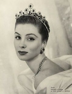 Suzy Parker in advertising for Van Cleef & Arpels jewelry, 1953