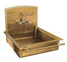 Love love love gold!! Italian brass sink by Restart of Florence.