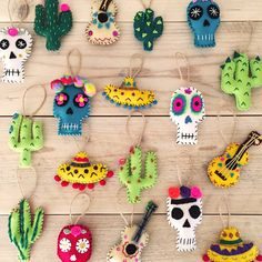 Set of 3 handmade felt decorations. Each one individually hand embroidered and adorned with sequins, Felt Christmas Ornaments, Handmade Christmas, Christmas Crafts, Cactus Christmas Trees, Mexican Christmas Decorations, Felt Decorations, Halloween Crafts, Holiday Crafts, Mexican Crafts