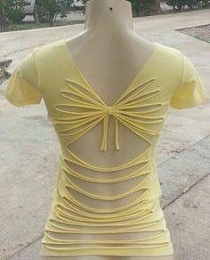 Yellow cut up tshirt Ripped Shirts, Old Shirts, Cut Up Tees, Cut Shirt Designs, Diy Clothes Design, Diy Fashion, Fashion Outfits, Cute Tshirts, T Shirt Diy