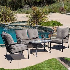 4 PCS Patio Furniture Sofa Set Tea Table & Chair Outdoor Garden Pool Steel Frame