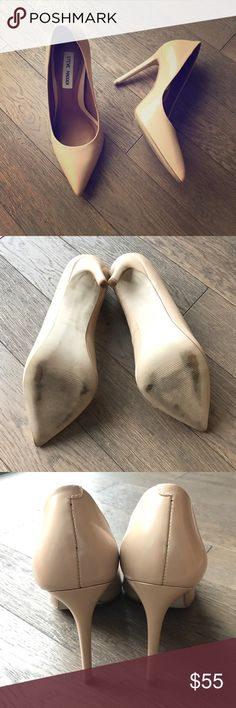 "Steve Madden Proto pumps These are a classy pump in a neutral semi gloss leather: not patent, not matte - makes these shoes show up without trying too hard. Elevated on 4"" sure to elongate your stems. Worn once. In excellent condition. Steve Madden Shoes Heels"