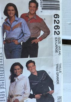 vintage McCall's 6262, Unisex easy Western Shirt pattern, size 42,44 Ex-large, UNCUT, 1992 by MotherMuse on Etsy