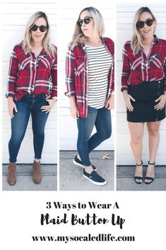 Here are 3 fun and unique ways to wear your favorite plaid button ups that are perfect for every occasion this fall. easy outfits | fall fashion | plaid button up outfit | mom outfits | casual outfits | date night outfits | how to wear plaid | red plaid
