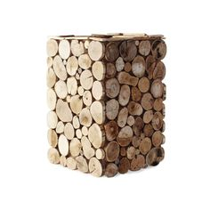 """For a decadent mountain getaway in your very own living room, choose our 10"""" x 10"""" x 15"""" planter decorated with wood rounds. Use it as your knitting craft container next to your favorite chair, or plan...  Find the Woodsy Planter, as seen in the Haute & Cold in Aspen Collection at http://dotandbo.com/collections/haute-and-cold-in-aspen?utm_source=pinterest&utm_medium=organic&db_sku=97106"""