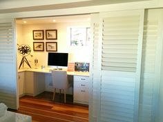 Full length study nook with white plantation shutter sliders to conceal. Plenty of space. Study Nook, Nooks, Shutters, Sliders, Home Office, Corner Desk, House Ideas, Space