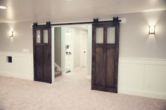 The 2-Panel Glass sliding barn door is the ultimate addition to any home. Unique, custom designed piece captures the combination of glass and wood perfectly