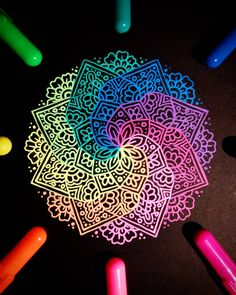 "1,541 Likes, 33 Comments - Ísól Lilja (@drawing_in_ice) on Instagram: ""I don't have anything new to post so here's another photo of the rainbow mandala that I drew last…"""