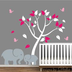 Nursery Decal with Elephants and Colorful Tree by DesignsByDelia09