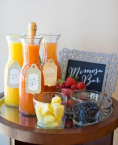 Mimosa Station | 7 Ideas For A Morning-After Wedding Brunch | https://www.theknot.com/content/8-easy-ideas-for-and-amazing-morning-after-wedding-brunch