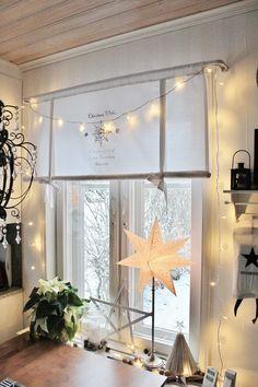 Christmas window Scandinavian interior Scandinavian Interior, Chandelier, Windows, Ceiling Lights, Lighting, Christmas, Home Decor, Xmas, Candelabra