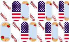 Ball Game Let's play ball! What's more American than Baseball and Apple Pie? Jamberry NAS Designs by the one and only ME! If you like what you see, click on the link! #Jamberry #NAS #Baseball #American #Applepie