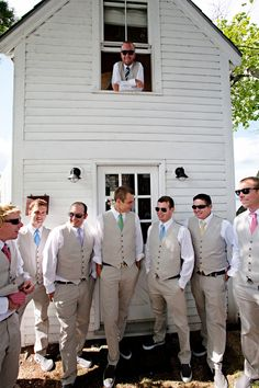 Different colored ties, match with the bridesmaids