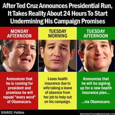 Ted Cruz = proven hypocrite on the #PPACA/#Obamacare!